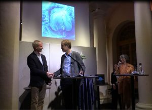 Olov Amelin (director of the Nobel Museum) and Rico Besserdich during the official release of the book. Nobel Museum, Stockholm/Sweden.