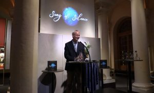 "Rico Besserdich, the creator of ""Song of Silence"" during his opening speech. Nobel Museum, Stockholm/Sweden."