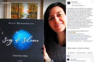 Canadian actress Karen Belfo and her copy of Song of Silence.