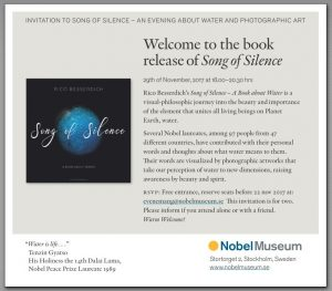"Invitation by the Nobel Museum. The release of ""Song of Silence - A Book about Water"""